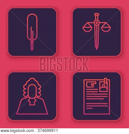 Set Line Feather Pen, Judge, Scales Of Justice And Lawsuit Paper. Blue Square Button. Vector