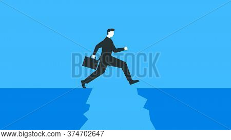Vector Illustration Of A Businessman With A Briefcase Jumping Over The Abyss. Represents Concept Of