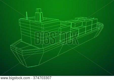 Heavy Dry Cargo Ship Of Bulk Carrier With Freight Containers. Wireframe Low Poly Mesh Vector Illustr