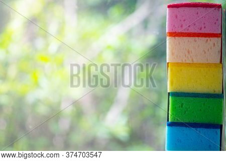 Multi-colored Sponges For Washing Dishes, Universal Cleaning Products. New Colorful Sponges For Wash