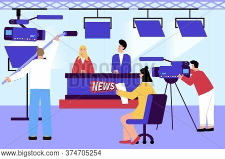 Tv News Studio Flat Composition With Indoor Scenery And Newscasters With Camera Operators And Lighti