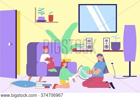 Babysitting Educational Games Lessons Activities  Flat Room Interior With Kids And Nanny Holding Wor