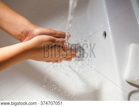 A Child Washes His Hands With Soap, Hygiene, Hygienic Procedures, Foam On Kid's Hands Close-up, Prot