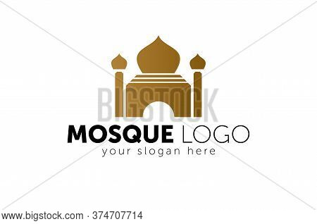 Modern Islamic Mosque Logo - Elegant Brown Mosque Silhouette