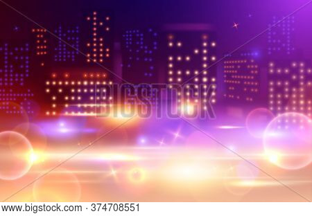 Night City Lights Composition With Tall Building Windows Of Different Colour And Absract Spots Glowi