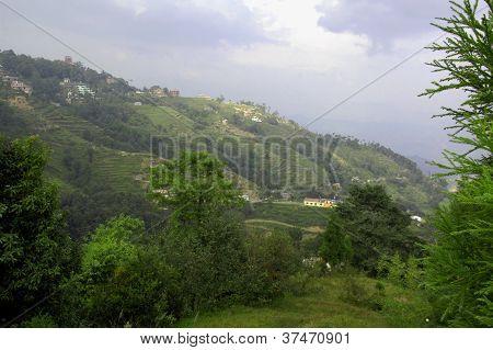Terrassen und Gebäude in der Nähe von Nagarkot, nepal