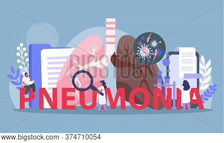 Lung Inspection Flat Composition With Images Of Lungs With Medical Lab Equipment And Characters Of D