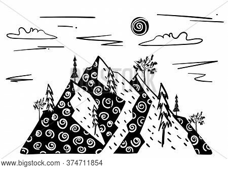 Stock Vector Illustration Of Line Art Landscape With Mountains And Trees With Texture. Hand Drawn De