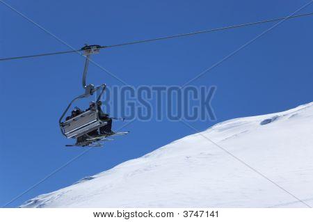 Chair Lift At Ski Resort. Winter Vacations