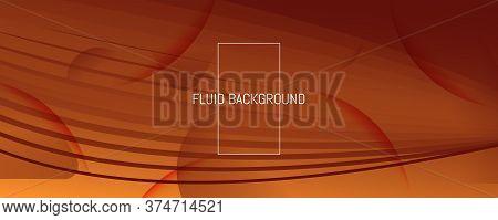 Vector Fluid Flow. Orange Gradient Landing Page. 3d Abstract Shapes. Minimal Poster. Yellow Fluid Fl