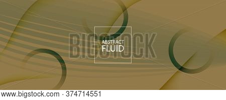 Brown Landing Page Design. 3d Flow Shape Texture. Vivid Creative Background. Green Dynamic Website.