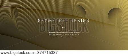 Abstract Vector Curve. Gold Gradient Landing Page. 3d Fluid Line. Creative Poster. Yellow Abstract V