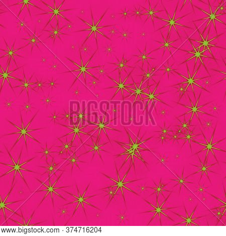 Seamless Pattern With Gold Shiny Stars. Abstract Shiny Pink, Magenta Background. Illustration Digita