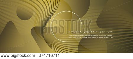 Abstract Vector Curve. Gold Dynamic Background. 3d Fluid Shape. Technology Poster. Yellow Abstract V