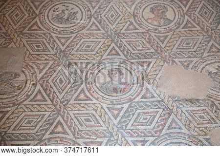 Ancient roman Villa del Casale with beautiful mosaic built in the 3-4th century BC, Piazza Armerina, Sicily, Italy. Famous tourist attraction in Italy. Sicilian travel destination