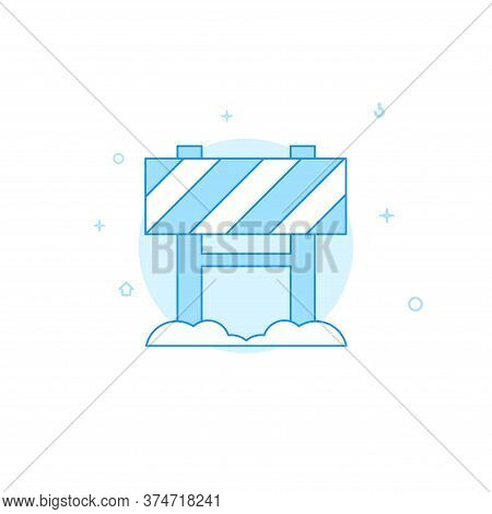 Road Closed Sign Vector Icon. Flat Illustration. Filled Line Style. Blue Monochrome Design. Editable