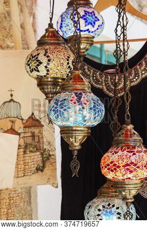 Budva, Montenegro - 19.07.2019 Souvenirs From Montenegro, Traditional Colorful Decorative Vintage Ha
