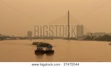 Chao Phraya River And Cable Bridge