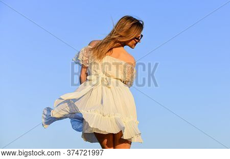 Mental Health. Girl Blue Sky Background. Emotional Girl. Happy Girl White Dress Feel Free. Summer Pa