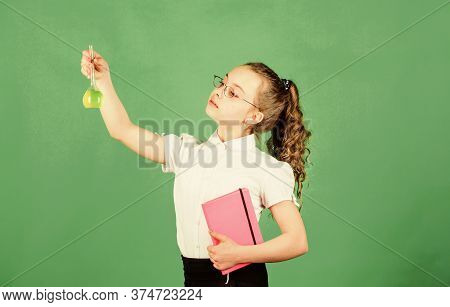 Schoolgirl With Colorful Chemical Liquids. Education Concept. Safety Measures. Small Kid Study. Chem