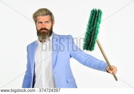 I Agree To Any Work. Businessman Hold Broom. Financial Crisis Concept. Global Crisis And Unemploymen