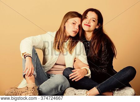Always Together. Happy Women In Spring Jacket. Warm Clothing Fashion. Girls Relax And Embrace. Seaso