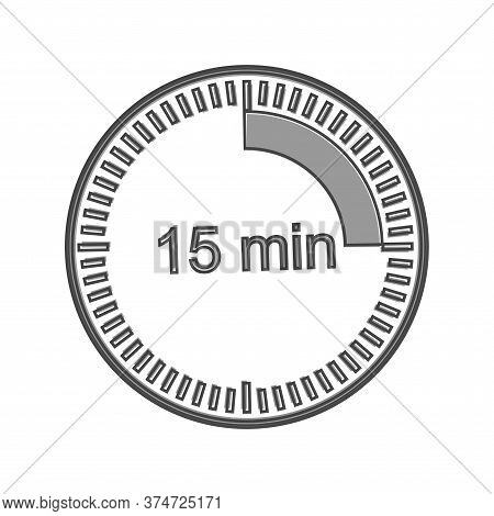 Clock Icon Indicating The Time Interval Of 15 Minutes. Fifteen Minutes Time On The Clock Cartoon Sty