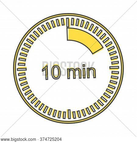 A Clock Icon Indicating The Time Span Of 10 Minutes. The Time Span Is Ten Minutes On The Clock