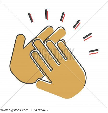 Applause Icon. A Symbol Of Clapping. Business Illustration Workflow Icon Cartoon Style On White Isol