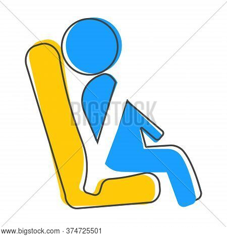 Vector Icons Passenger Seated In The Transport And Use Of The Safety Belt. Symbol Motivation To Use