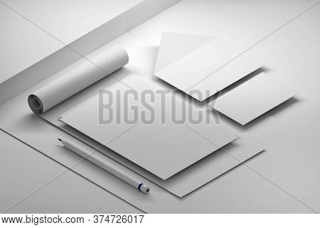 White Collection Of Mockup Documents - A4 Paper Sheet, Pencil, Envelope And Business Card. 3d Illust