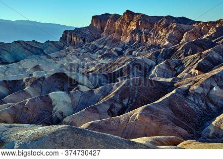 Zabriski Point Mudstones Form Badlands Death Valley National Park