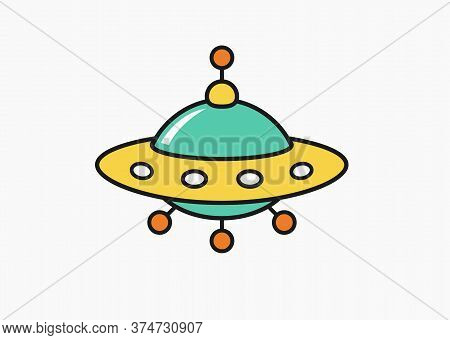 Childs Drawing Ufo Icon, Unknow Flying Object Cartoon Linear Illustration For Children Coloring Book