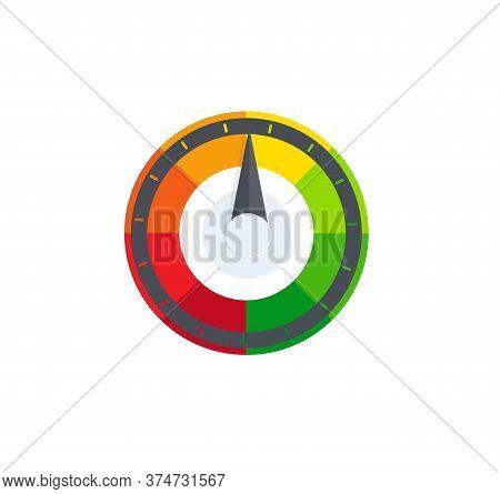 Colorful Selector, Regulator, Speedometer Logo. Fuel, Petrol Indicator Logotype. Pollution, Radiatio