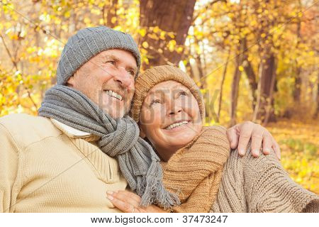 active senior couple enjoying freetime park