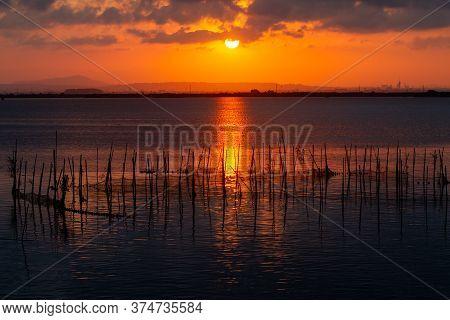 Sunset Over Albufera Freshwater Lagoon
