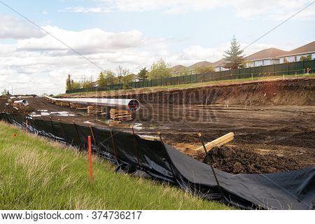 Construction Of Oil And Gas Pipeline In A City. Welding. Trans Mountain Pipeline In Canada.transport