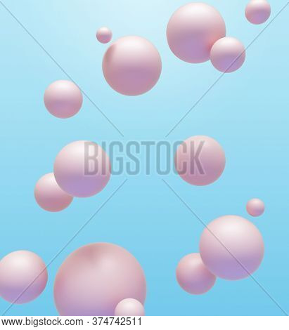 Abstract background of mat pink spheres floating around in the air over blue backdrop. 3D render