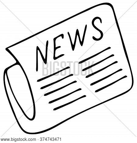 Newspaper With News. Sketch. Vector Illustration. Outline On An Isolated Background. Printed Cover.