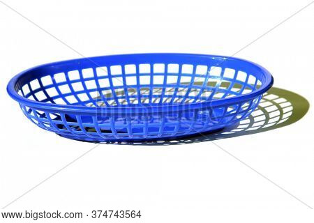 Plastic Burger Basket. Blue plastic fast food Lunch or Dinner basket. Plastic basket isolated on white. Room for text. Plastic Baskets are used to serve Hamburgers, Hot Dogs, Fried Chicken, and more.