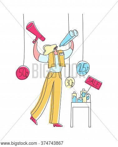 Vector Flat Illustration Promoter Who Calls Customers Through Megaphone To Products That Are Sold At