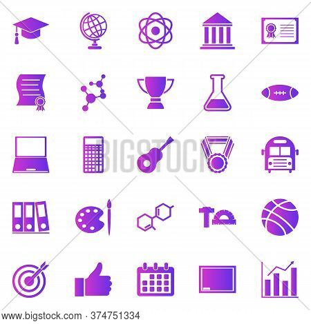 College Gradient Icons On White Background, Stock Vector