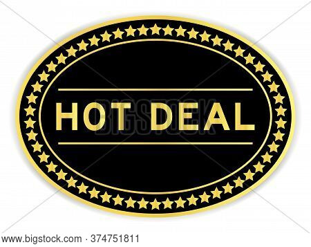 Black And Gold Color Sticker With Word Hot Deal On Whitebackground
