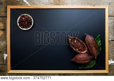 Dry Cocoa Pod With Cocoa Beans And Cocoa Powder