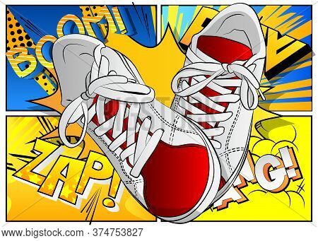 A Pair Of Sneaker, Sport Shoes - Comic Book Style, Cartoon Vector Illustration On Abstract Backgroun