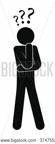 Stick Figure, Man Stands In Thought, Confusion. Making Difficult Decisions, Answering Questions. Que