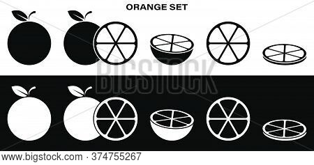 Fulll Set Of Orange, Grapefruit, Mandarin Icons. Whole, Cut, Slice And Ringlet. Part Of Menu Design.
