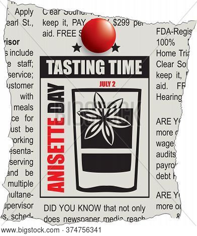 An Ad On A Piece Of Newspaper Is A Tasting Time. The Holiday Is Dedicated To Anisette Day, Celebrate