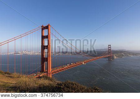 Full Landscape View Of The Golden Gate Bridge From The Golden Gate Bridge Vista Point Near Ridge Bat