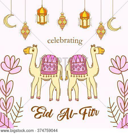Eid Mubarak Decoration On Hand Drawn Style Illustration. Vector Illustration Of Lantern, Crescent Mo